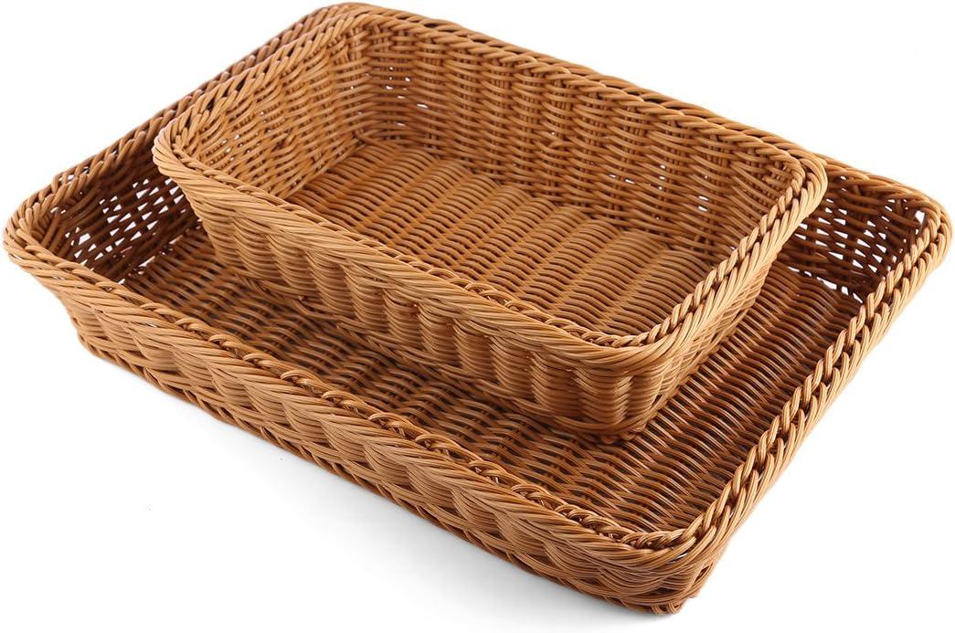 Obstkorb Brotk/örbchen Rechteckig Rattankorb f/ür Brot Obst Gem/üse Batop 2 Pcs Brotkorb aus Weide