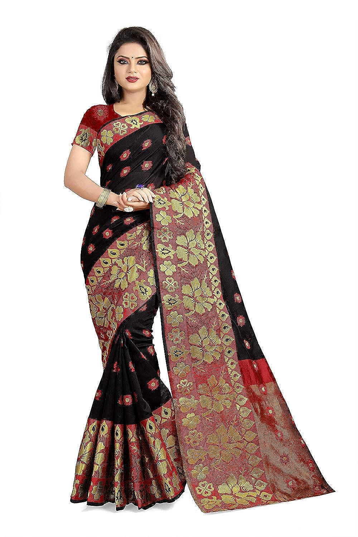 Black Color Kanchipuram Cotton Saree With Blouse Piece