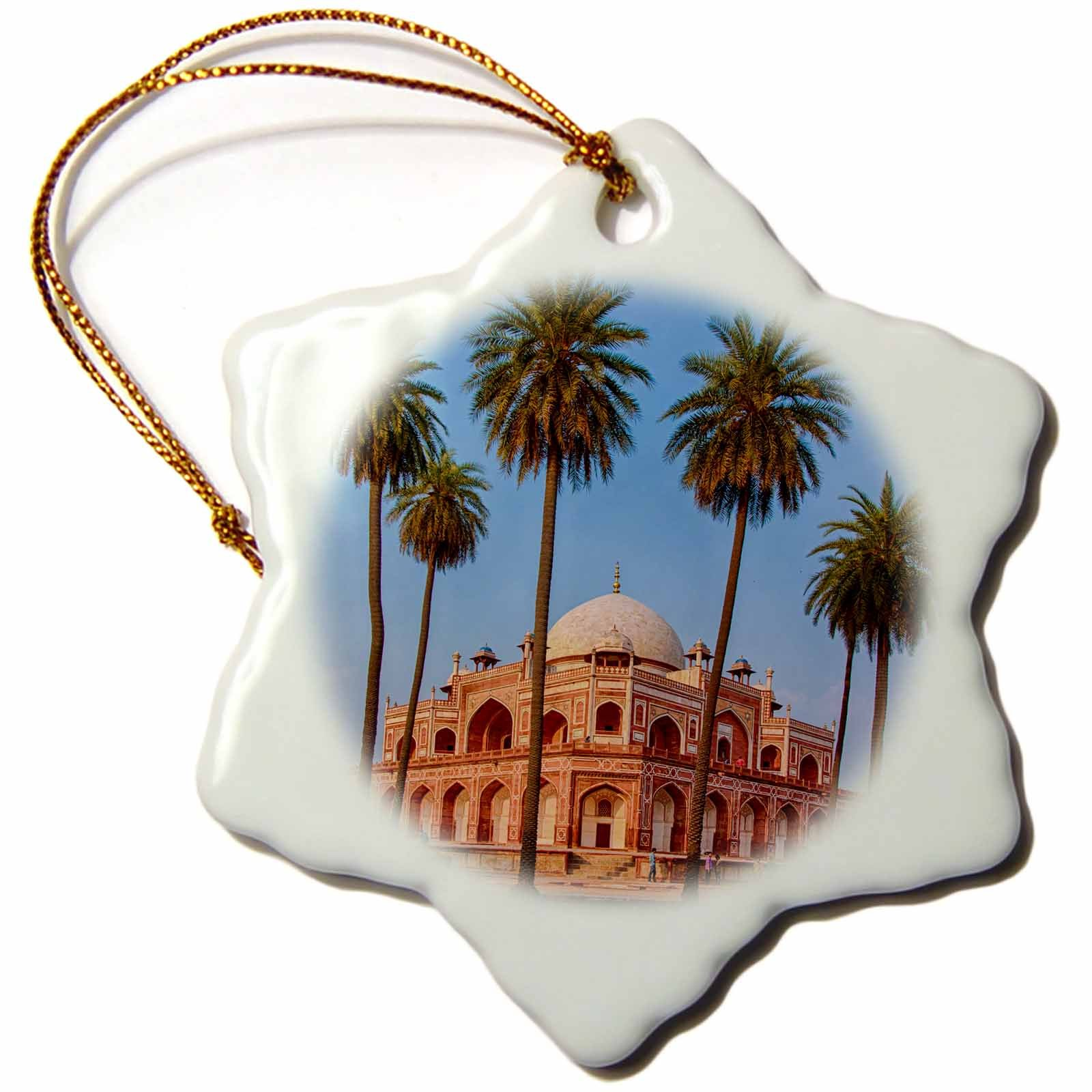 3dRose Danita Delimont - Travel - India. Exterior view of Humayuns Tomb in New Delhi. - 3 inch Snowflake Porcelain Ornament (orn_276785_1)