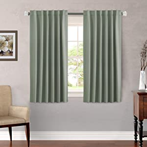 H.VERSAILTEX Window Treatment Thermal Insulated Room Darkening Curtains Drapes for Bedroom, Solid Blackout Curtain Panels for Living Room, Rod Pocket/Back Tab (Set of 2, 52 by 54 Inch, Sage)