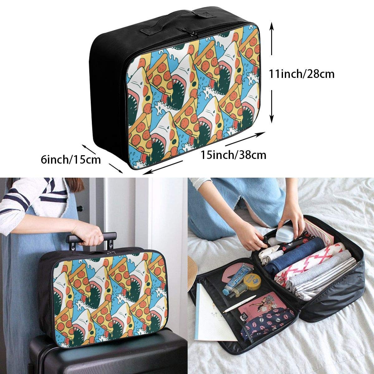 Pizza Shark JTRVW Luggage Bags for Travel Travel Lightweight Waterproof Foldable Storage Carry Luggage Duffle Tote Bag