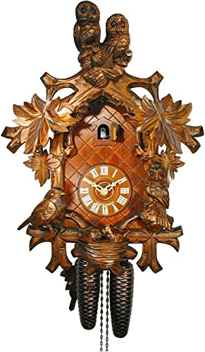August Schwer Cuckoo Clock Owl, Bird, Nest