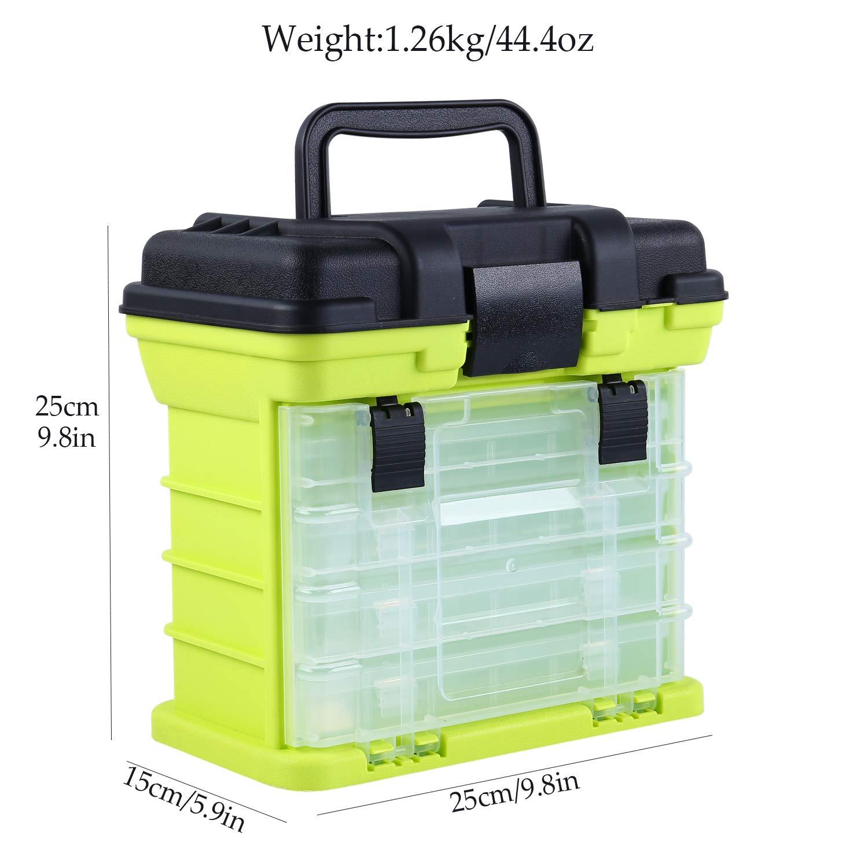 Sougayilang Caja de Aparejos de Pesca port/átil 4 Capas Caja de Pesca Barco de mar Caja de Accesorios de Pesca con manija Caja de Utilidad-Tama/ño peque/ño