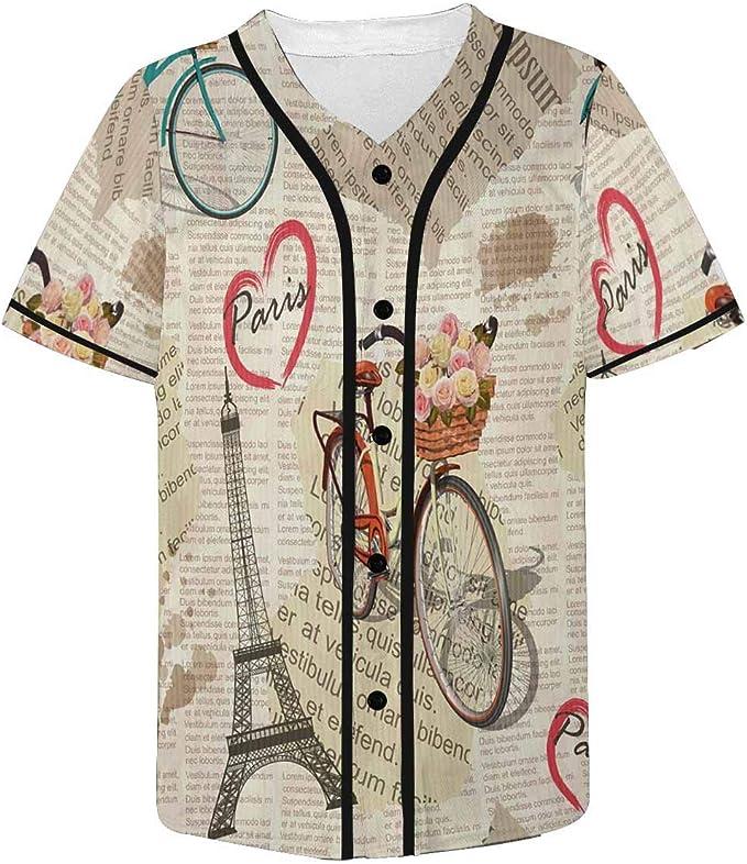 Interestprint Paris Vintage Newspaper Mens Baseball Jersey At Amazon Men S Clothing Store