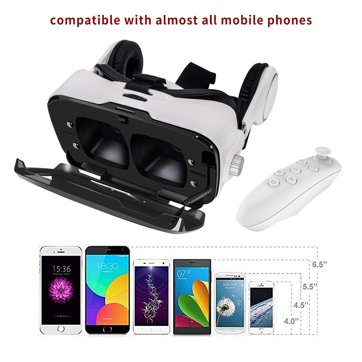 VR Headset, Tcbry 120° FOV, HD Virtual Reality Headset with Bluetooth Remote Controller for Google Pixel 2/2XL, iPhone X/8/7/6 and All Other iOS&Android Smartphones w/4.5-6.0 in (Black)