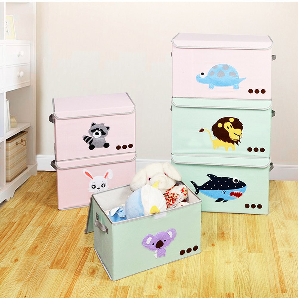 Foldable Storage Bin with Flip-top Lids and Handle Collapsible Cube Chest Box with Lid for Organizing Kids Dog Toys Nursery Supplies,Laundry Clothes Gift Basket Qutool Baby Toys Closet Books