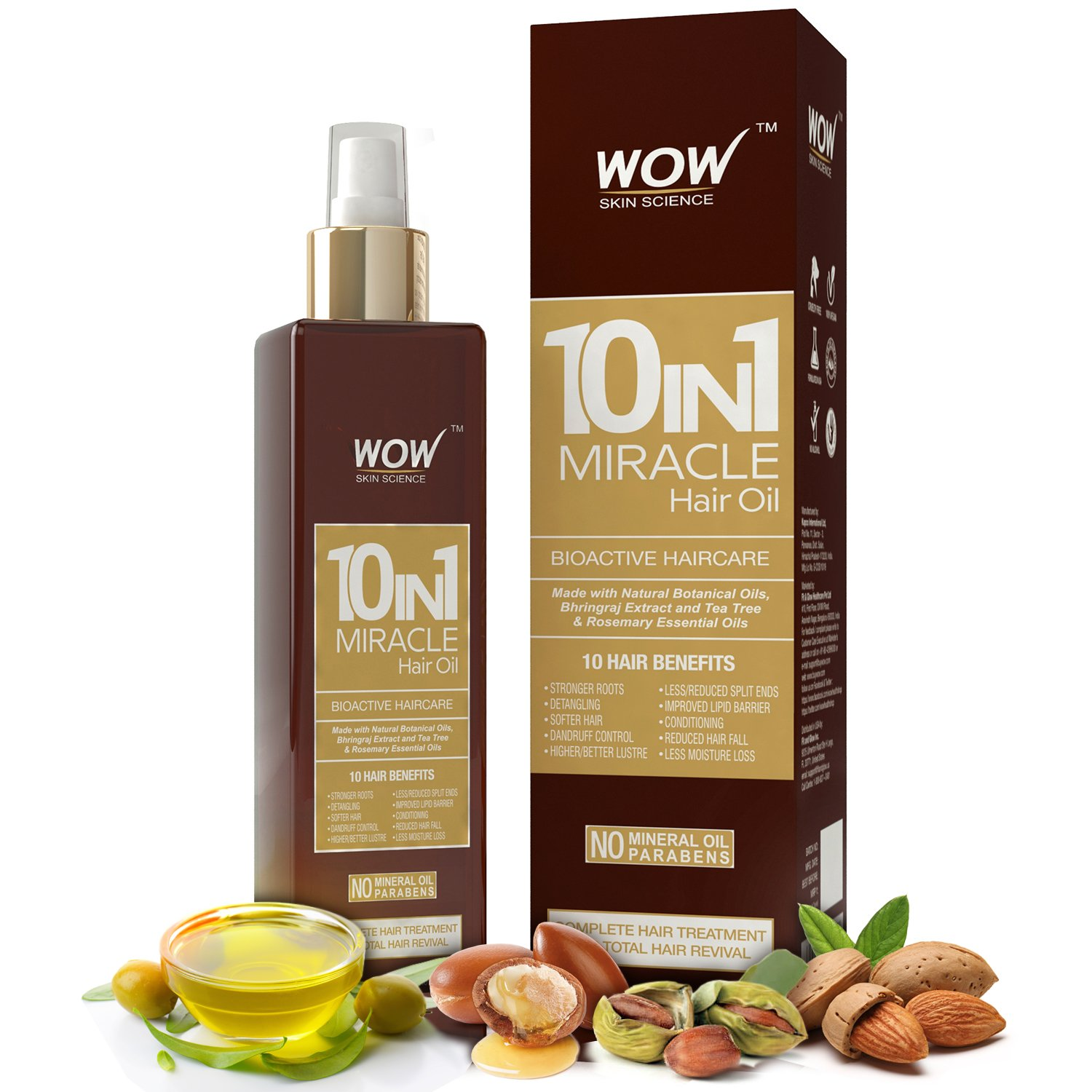 WOW 10 in 1 Miracle No Parabens and Mineral Oil Hair Oil,