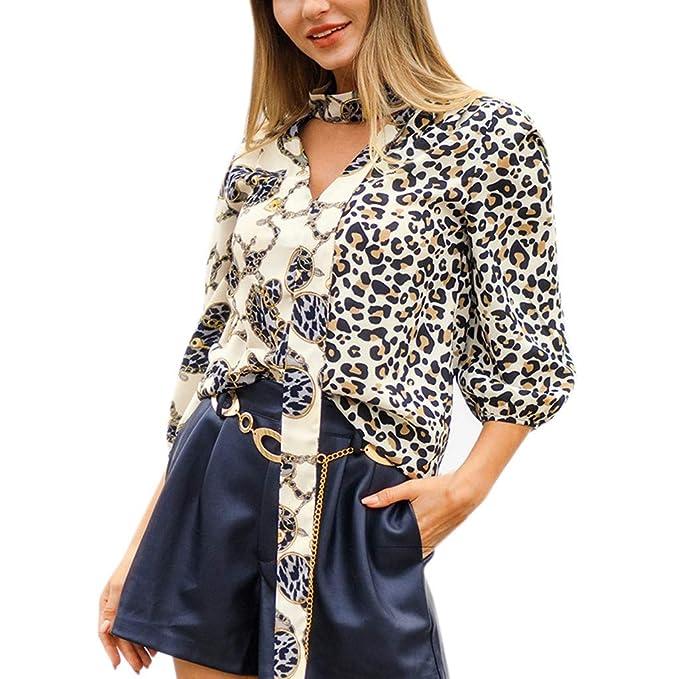 Blusa para Mujer Lonshell Primavera otoño Invierno Moda para Mujer Estampado de Leopardo con Cuello en V Manga Larga Casual Sexy Camiseta de Cuello Alto ...