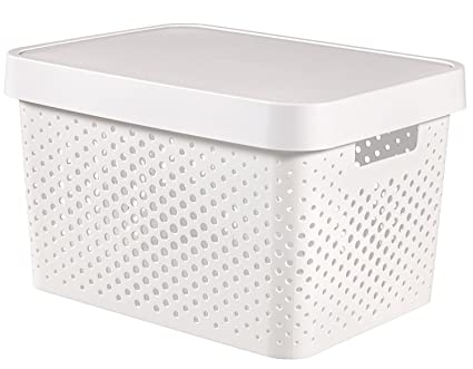 35 x 25 x 10 cm CURVER Infinity Box with Lid/Dot Pattern White
