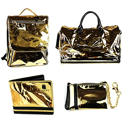 4 Pcs Luxury Duffle Bag Backpack Coin Purse Wallet Set Snake Grain Vegan Leather / Patent
