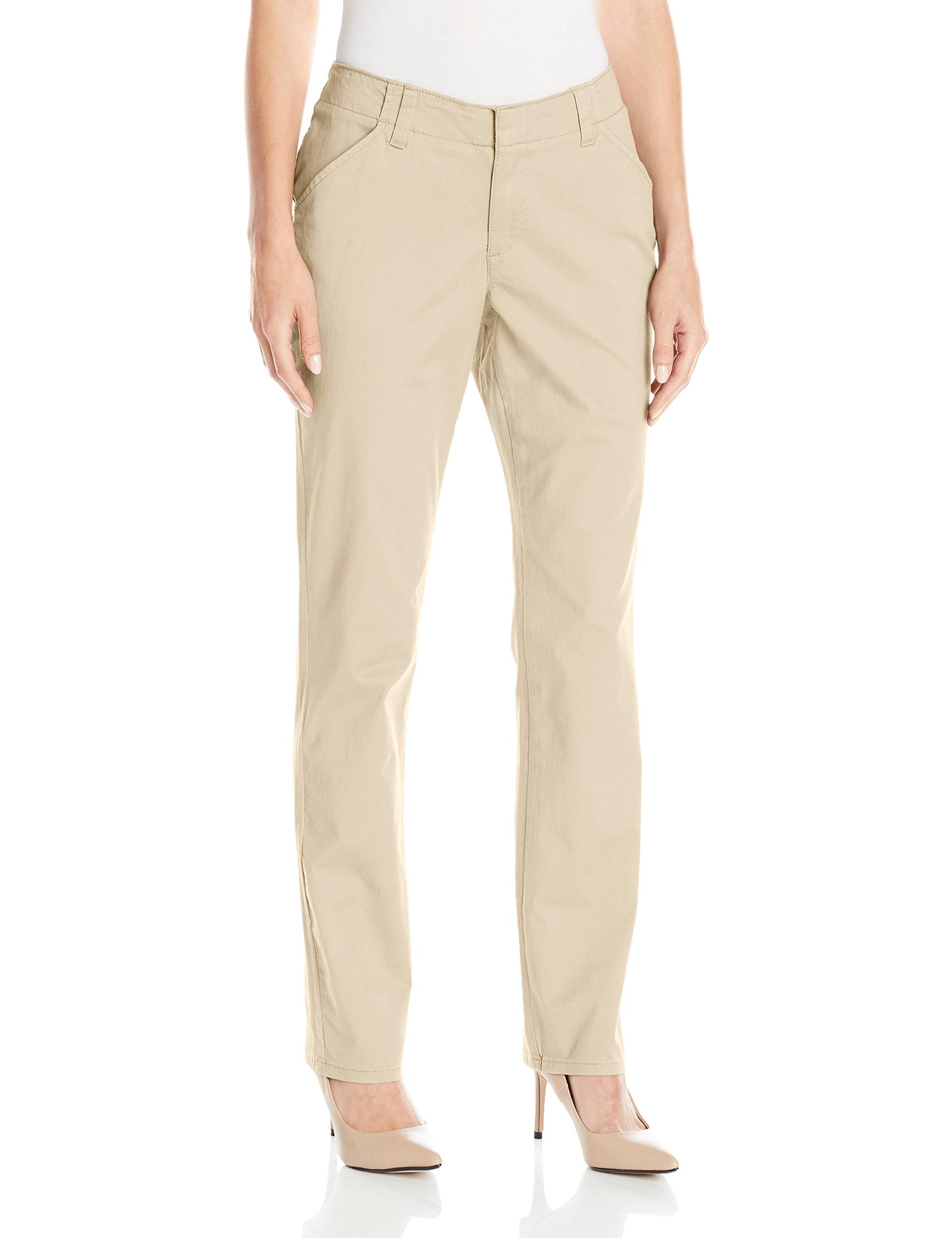 Lee Women's Midrise Fit Essential Chino Pant, Vintage Bungalow Khaki, 10 Short