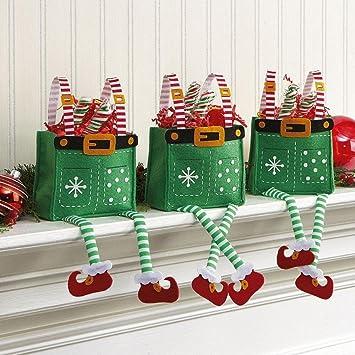 Elf Christmas Gift Bags.Elf Pants Felt Treat Bags Set Of 6 Christmas Holiday Goodie Bags