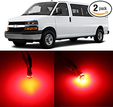 Alla Lighting 2x Super Bright 194 W5W 912 LED Bulbs Pure Red 3rd Brake License Plate Tag Front Side Marker Interior Glove Box Lights Lamps for 1996~2017 Express 1500 2500 3500
