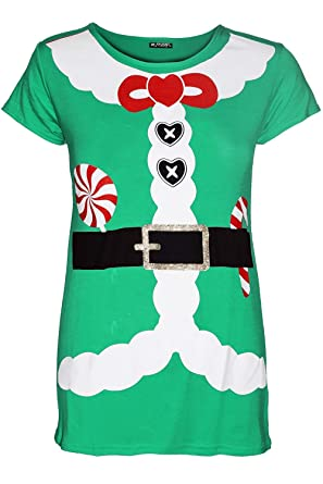 Womens Ladies Christmas Santa Claus Father Suit Belted Costume Xmas T Shirt Top