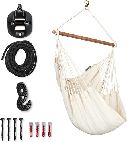 LA SIESTA Modesta Latte – Organic Cotton Basic Hammock Swing Chair with CasaMount Black Multipurpose Suspension