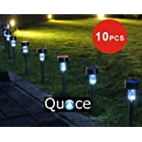 Quace Set of 10 Quace Garden Solar Lights for Pathway Ambient Lighting,Black