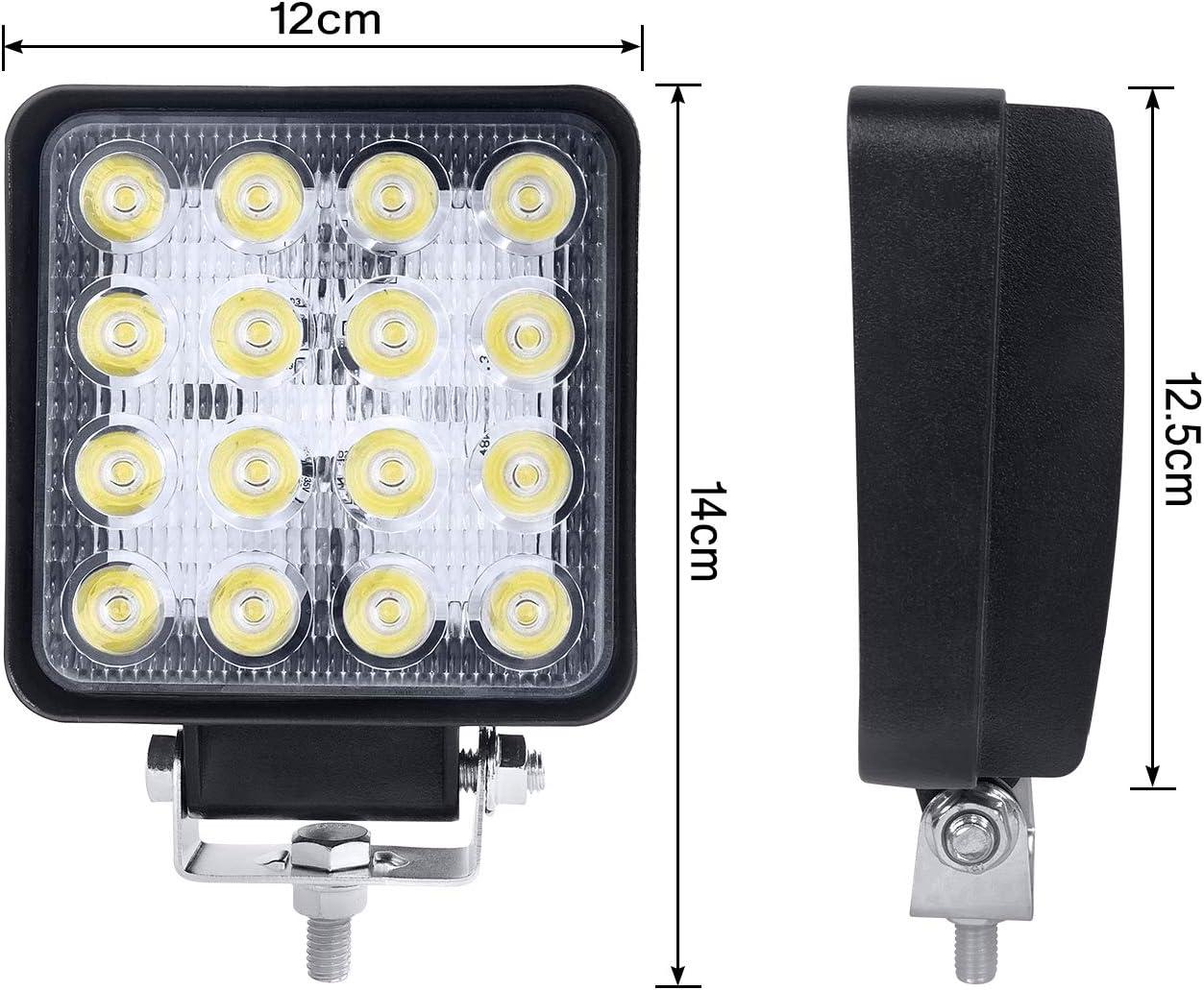 LED Offroad Flutlicht Arbeitslicht Reflektor Scheinwerfer 12V 24V f/ür SUV UTV ATV 2X48W, Quadrat HENGMEI 2 X 48W LED Arbeitsscheinwerfer Quadrat