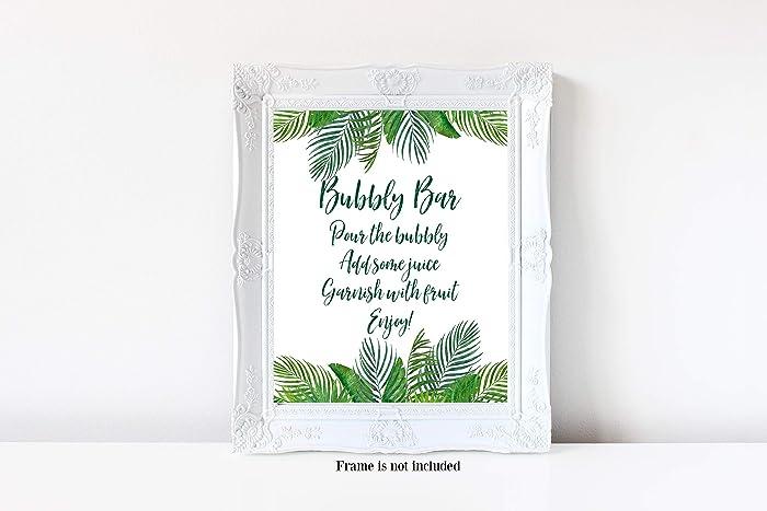 bubbly bar bubbly bar sign greenery mimosa tropical bubbly bar tropical bridal