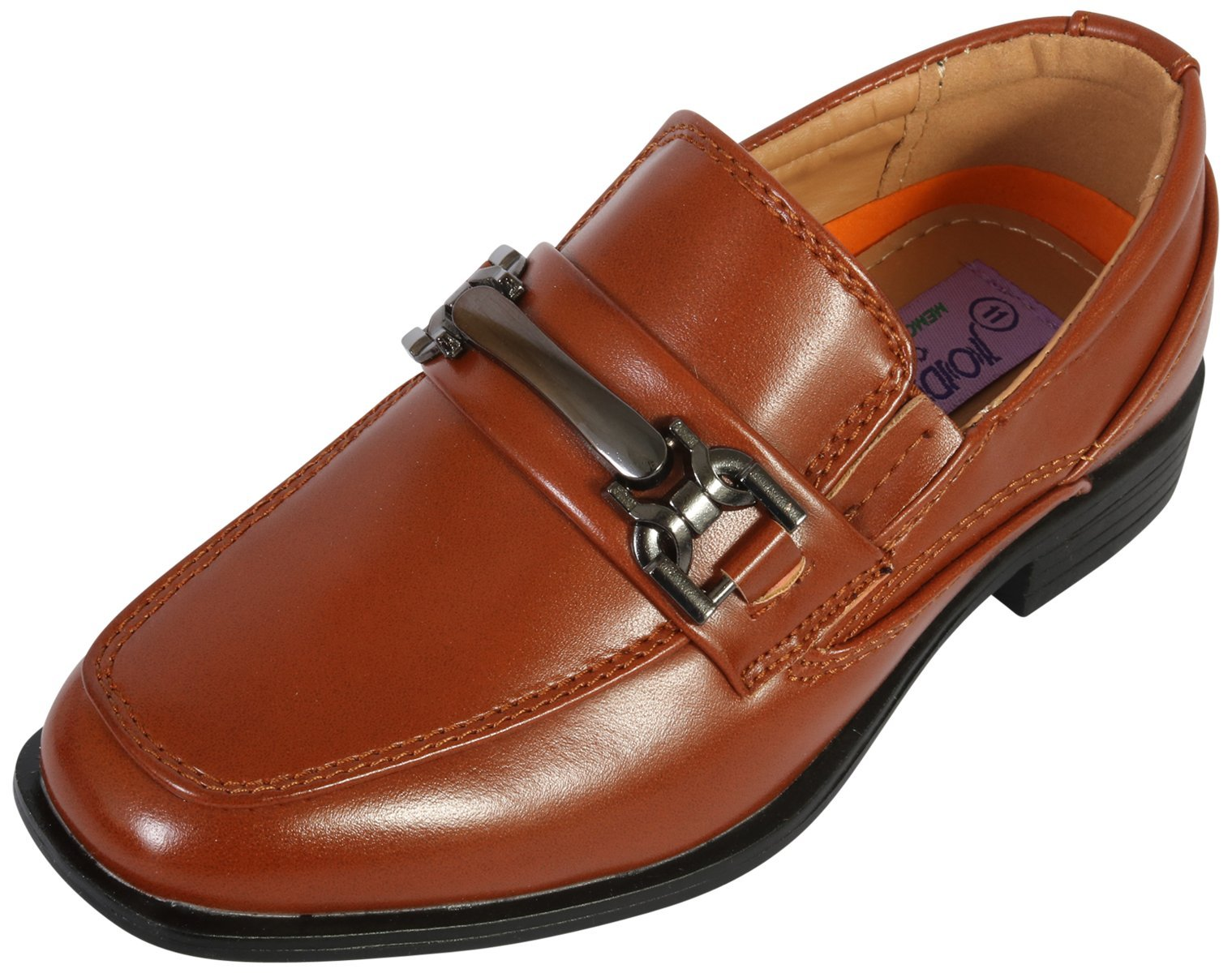 Jodano Collection Boys Comfort Slip On Loafers, Cognac Buckle, 1 M US Little Kid''