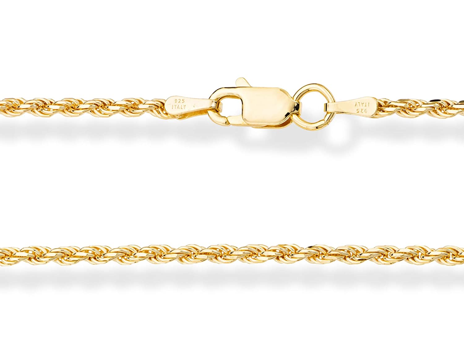MiaBella 18K Gold Over Sterling Silver Italian 2mm Solid Diamond-Cut  Braided Rope Chain Necklace Anklet Bracelet for Men Women 925 Italy 6 5, 7,  7 5,
