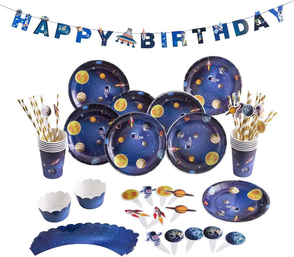 SUNBEAUTY 69 piezas Decoraci/ón de Cumplea/ños Decoraciones para Fiestas Espacio Exterior Happy Birthday con Pastel Topper Cupcake Astronauta Vaso de Papel Bandeja de Paja Baby Shower