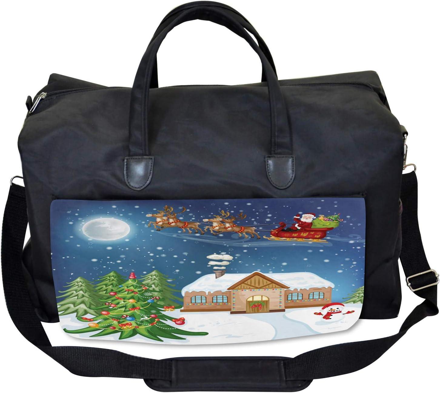 Ambesonne Christmas Gym Bag Large Weekender Carry-on Santa with Rudolf