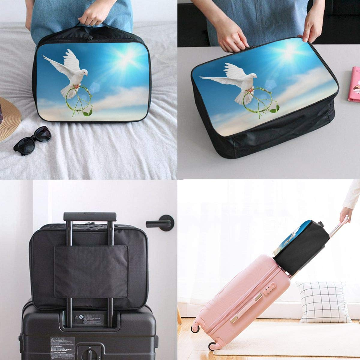 Travel Luggage Duffle Bag Lightweight Portable Handbag Dove Sky Large Capacity Waterproof Foldable Storage Tote