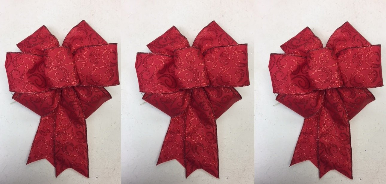 Wired Sparkling Red Glitter Swirl Bow Ribbon for 3 Christmas Bow 8 - 9 Inch Diameter - Red Hand Made Bow By Wreaths For Door