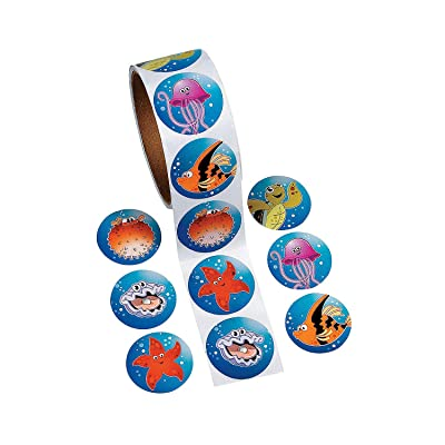 Fun Express - Tropical Sea Life Stickers for Summer - Stationery - Stickers - Stickers - Roll - Summer - 100 Pieces: Toys & Games