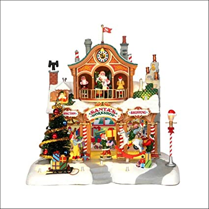 lemax 35558 santas workshop lighted building animated christmas village s o scale
