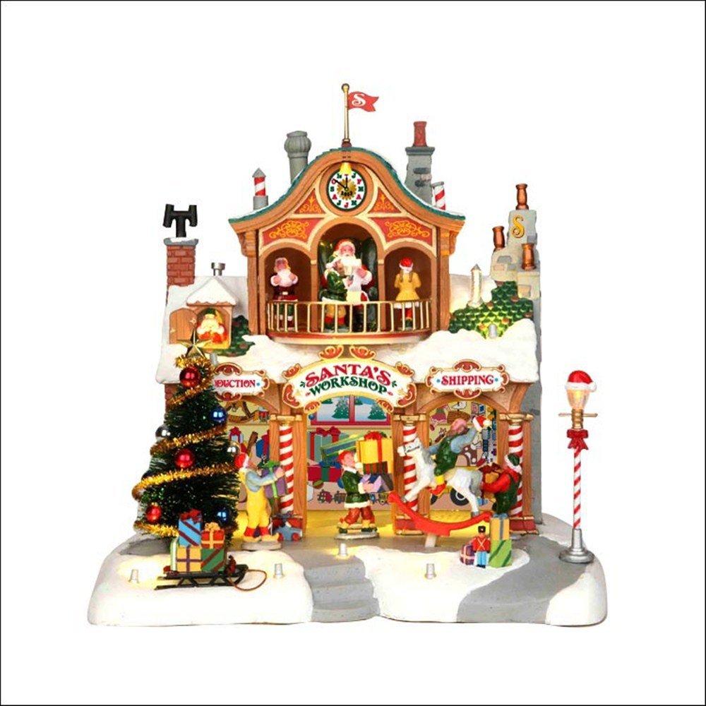 Lemax - Santa's Workshop - Animierte Weihnachstwerkstatt mit Beleuchtung & & & Sound - 27,50cmx27cmx25cm - 4,5V Adapter - Christmas Village - Weihnachtsdorf bbc83a