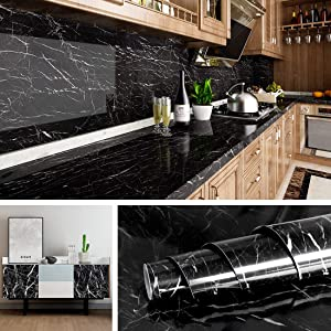 Livelynine Black Marble Wall Paper for Kitchen Counter Top Covers Peel and Stick Wallpaper Bathroom Instant Granite Wall Covering Dining Table Cover Old Furniture Deor 15.8x78.8Inch