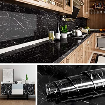 Livelynine Black Marble Wall Paper For Kitchen Counter Top Covers Peel And Stick Wallpaper Bathroom Granite Contact Paper For Countertops Desk Table Cover Old Furniture Sticker 15 8x78 8 Inch Amazon Com