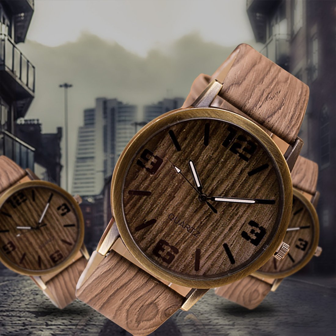 Amazon.com: 2016 Classical Wooden Watch Women Wristwatches Vintage Style Men Dress Watch Pu Leather Quartz Watch 5#: Watches