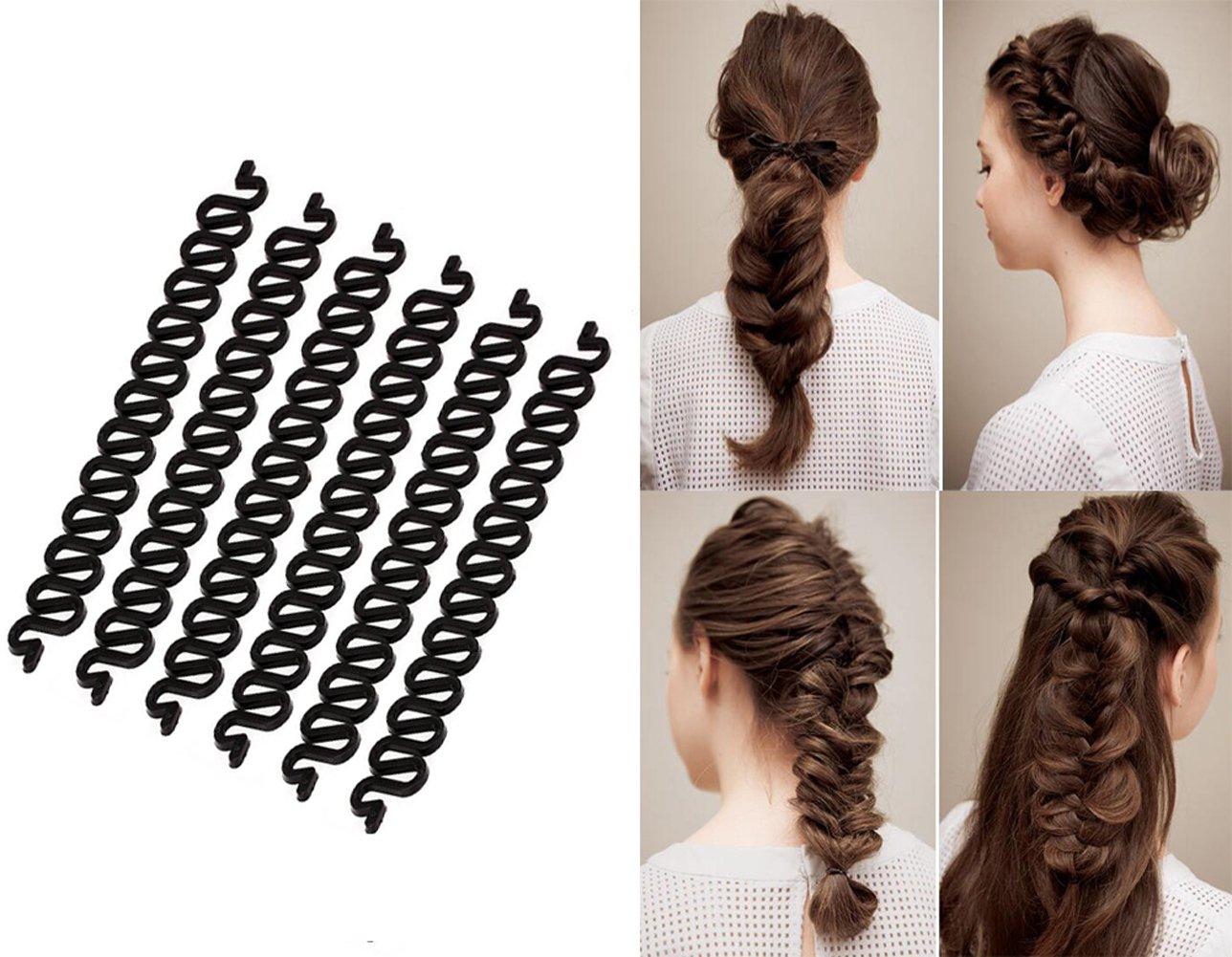 6pcs nero lungo 19, 1cm plastica French Braider Hair Braiding Tool Machine Hair Braider Twist styling clip roller Bun Maker DIY Hair Band Accessories Upstore