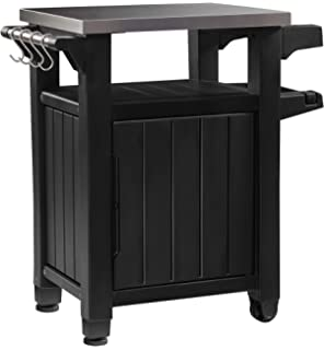 Keter Unity Indoor Outdoor Bbq Entertainment Storage Table Prep Station With Metal Top