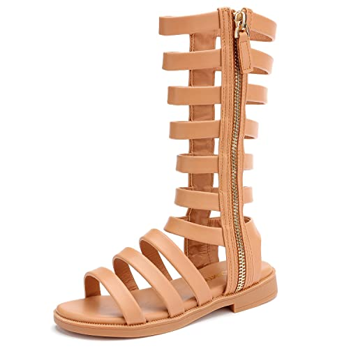 72435b446ecf5 UBELLA Girl s Side Zipper Strappy Gladiator Sandals Comfort Flat Boots  Shoes (Toddler Little Kid Big Kid)  Amazon.ca  Shoes   Handbags