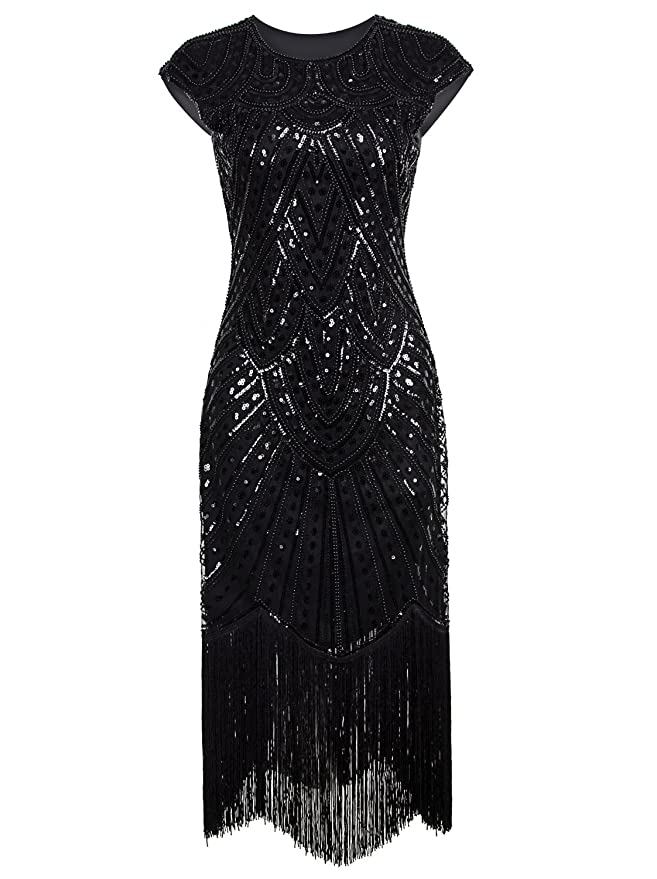 Roaring 20s Costumes- Flapper Costumes, Gangster Costumes Vijiv 1920s Long Prom Dresses Beaded Sequin Art Nouveau Deco Flapper Dress $44.99 AT vintagedancer.com