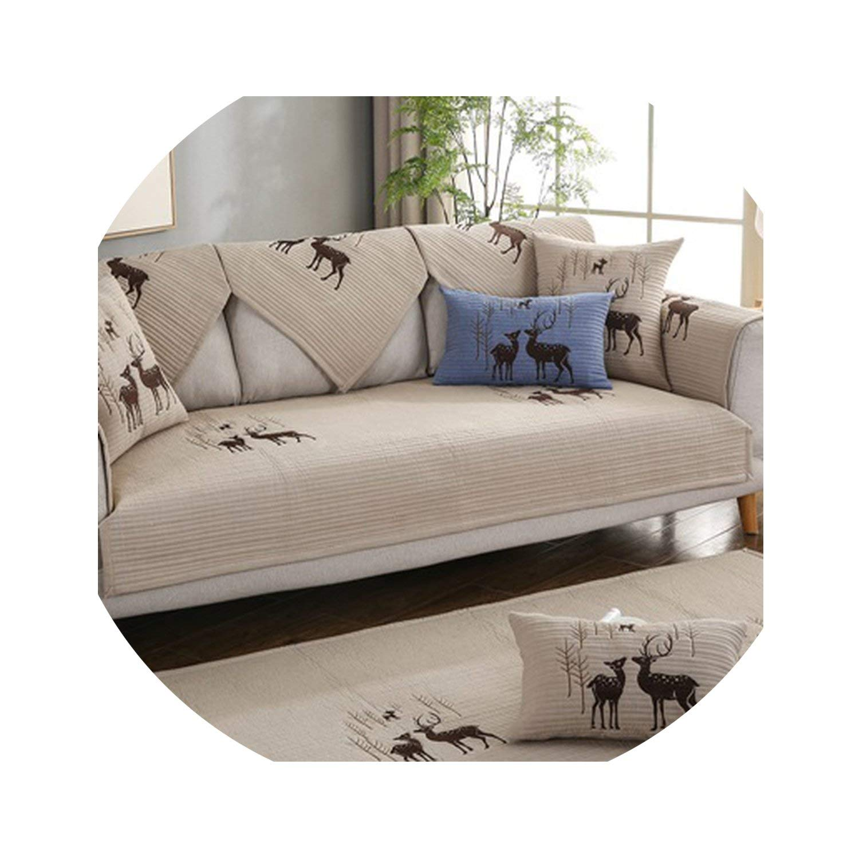 Amazon.com: No Buy No Bye Blue Grey Plaid Cotton Embroidered ...