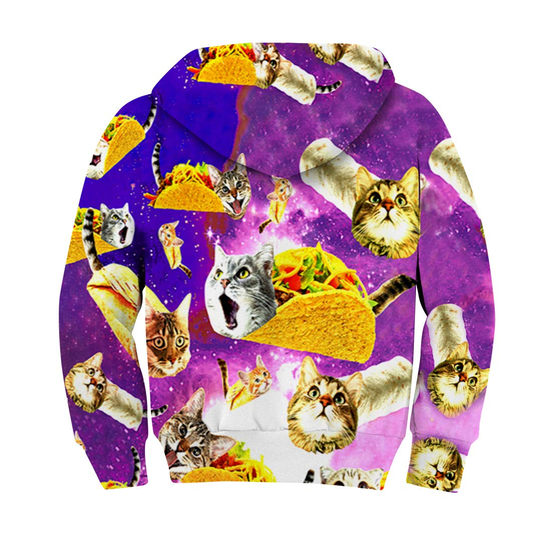 RAISEVERN Spring Autumn Winter Teens Long Sleeve 3D Pullover Hoodies Pizza Cats Print Sweatshirts Outfits Boys Girls Casual Wear