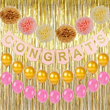 congratulations congrats banner with glitter gold powder letters