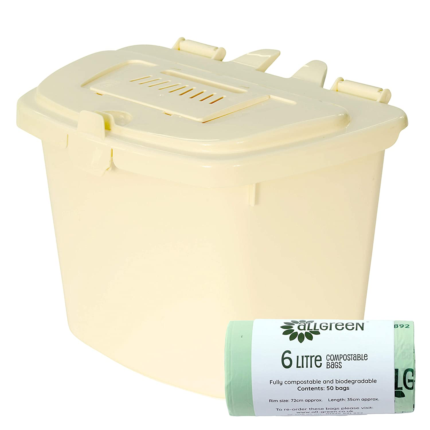 All-Green Cream 5L Vented Kitchen Compost Caddy & 50x Compostable Bags- Composting Bin for Food Waste Recycling