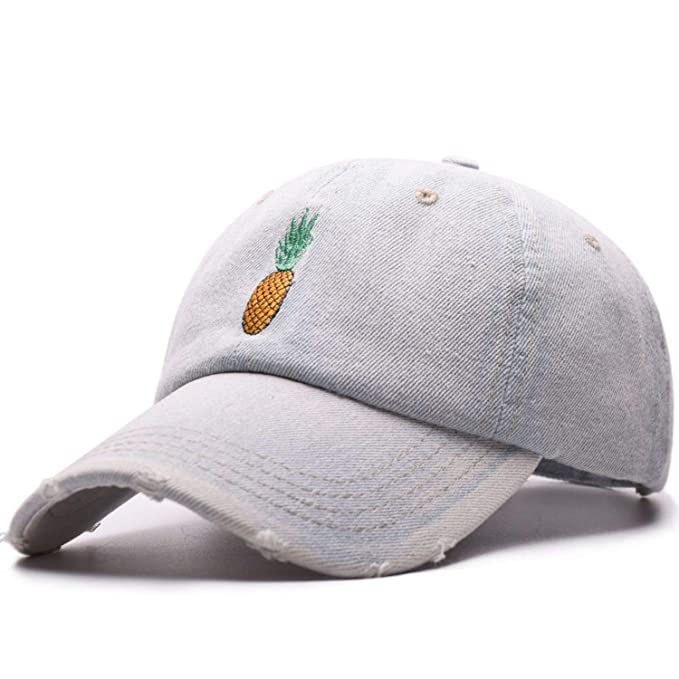 5be33575cc5d0 Image Unavailable. Image not available for. Color  Moktasp Denim Baseball  Cap Pineapple Embroidery ...