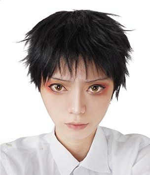 Nuoqi® Peluca Hombre Cosplay Corto recto peluca cosplay chico anime Negro: Amazon.es: Juguetes y juegos