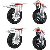 Miafamily ruedas de transporte carga pesada ruedas, ruedas & Rueda Giratoria Con Freno, goma, galvanizado Plata/Negro 4 Unidades en Set, 100 mm