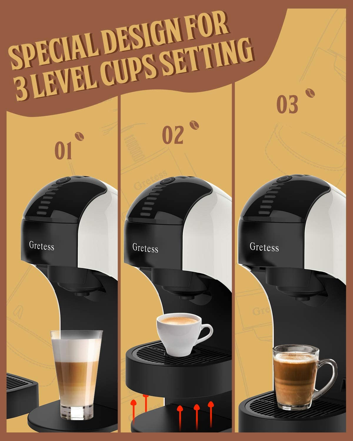 ltalian 15 Bar High Pressure Pump,34 Oz Water Tank 3 Level Cups Settings Compatible with dolce gusto Capsule Cappuccino and Latte Pod machine OPT-XW Perfect for Home Office Gretess Espresso Coffee Machine Capsule Coffee Maker Kitchen Espresso