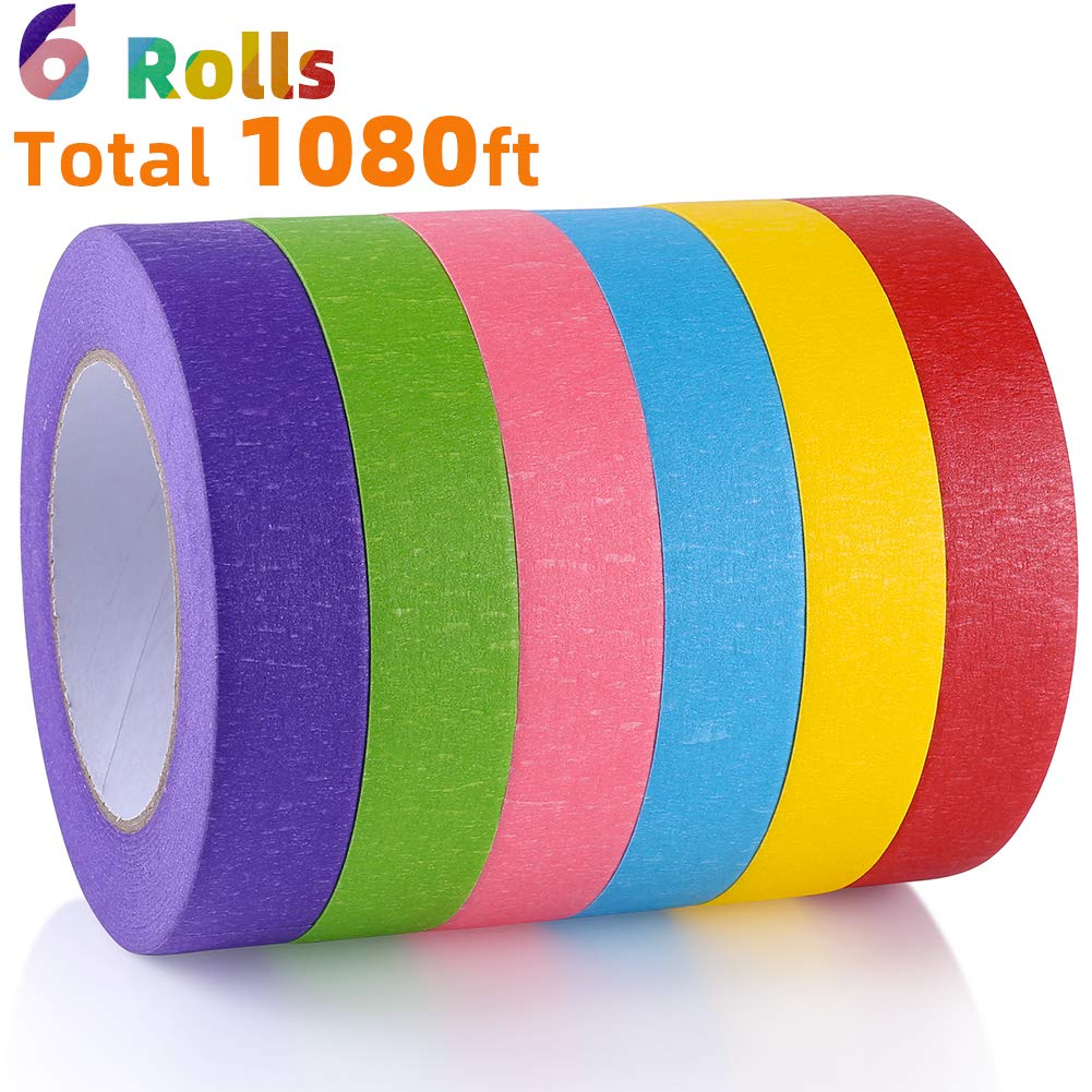 Rainbow Colors Painters Tape Colorful Craft Art Paper Tape for Kids Labeling Arts Crafts DIY Decorative Coding Decoration Teaching Supplies 8 Rolls 1 Inch Wide x 14.2Yards Long Colored Masking Tape