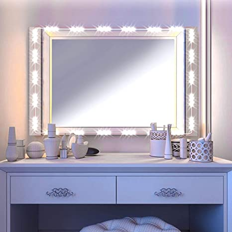LED Vanity Mirror Lights Kit Image Hollywood Style Cosmetic Lights With  Dimmer Controller And Strip Sticker