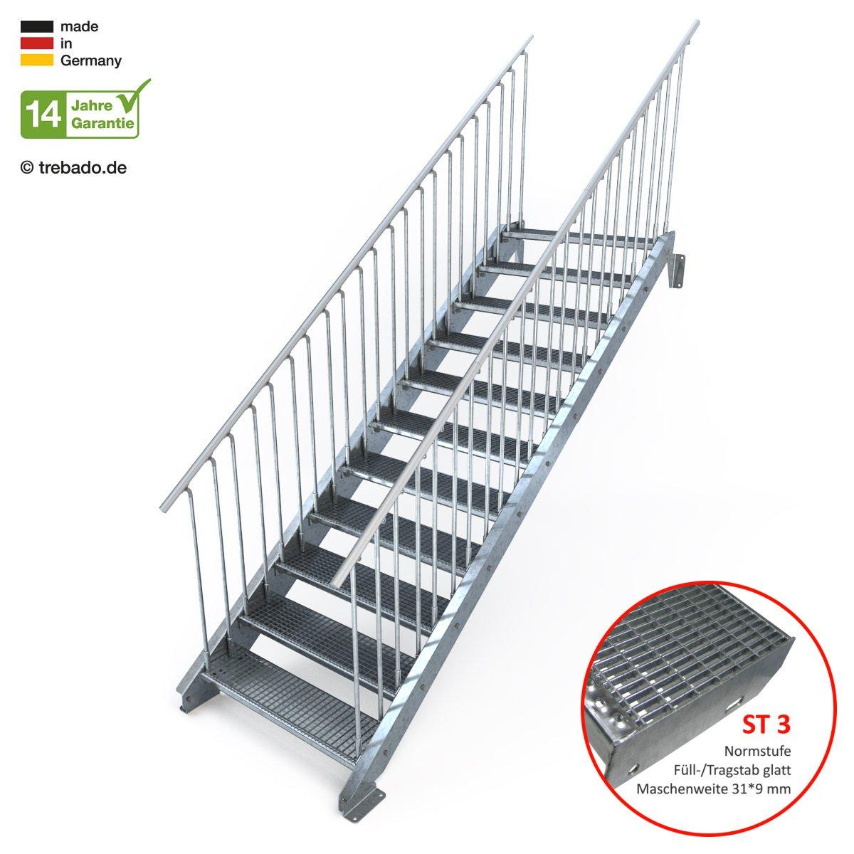 Gitterroststufe ST2 feuerverzinkte Stahltreppe mit 1000 mm Stufenl/änge als montagefertiger Bausatz Anstellh/öhe variabel von 183 cm bis 220 cm Au/ßentreppe 11 Stufen 100 cm Laufbreite beidseitiges Gel/änder