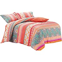 Bohemian Quilt Cover Set - by Wake In Cloud, Orange Coral Boho Chic Mandala Pattern Printed, Soft Microfibre Doona Cover…
